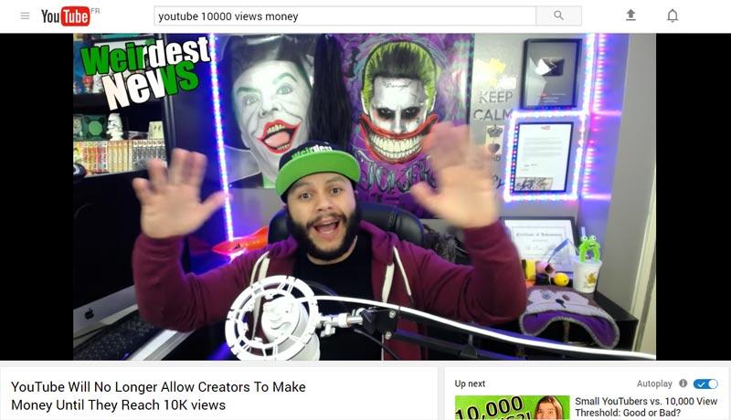 youtube et les 10000 vues